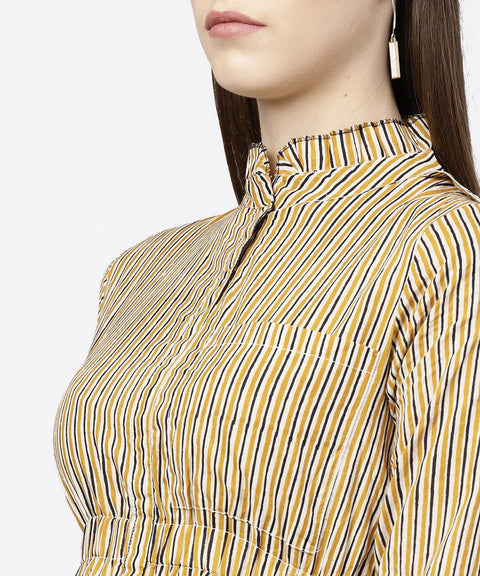 Yellow 3/4th sleeve striped cotton dress