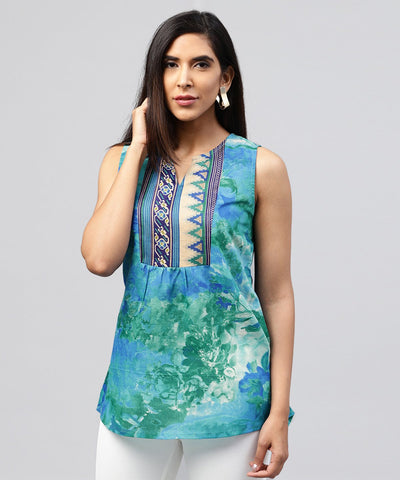 Blue banglori printed sleeveless tops