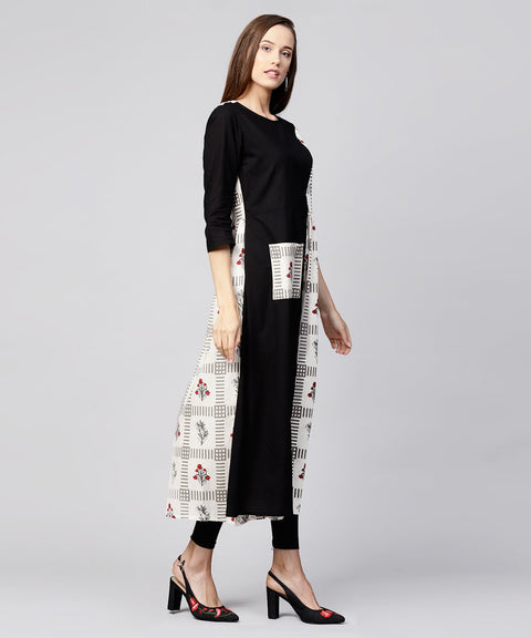 Off White & Black printed cotton 3/4th sleeve A-line kurta with pocket at front