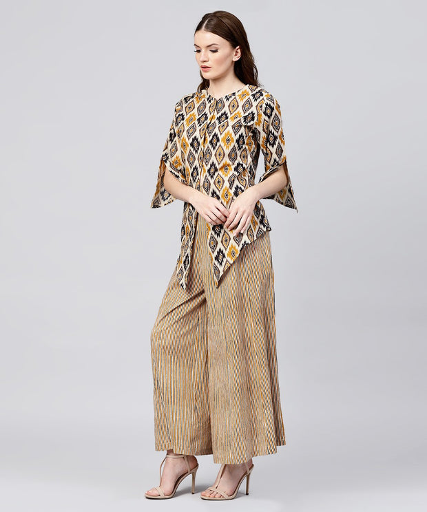 Yellow printed 3/4th sleeve cotton Assymetric tops with striped flared skirt