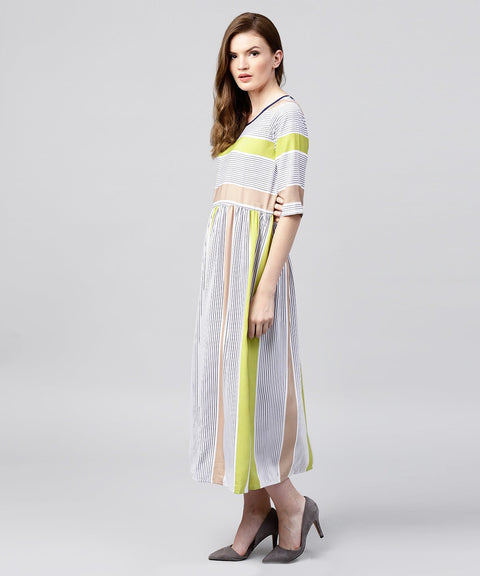 Off White half sleeve striped crepe maxi dress