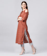 Red printed 3/4th sleeve cold shoulder cotton assymetric kurta with dori work at yoke