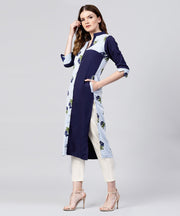 Blue striped printed 3/4th sleeve crepe kurta