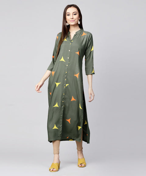 Green printed 3/4th sleeve cotton front open kurta