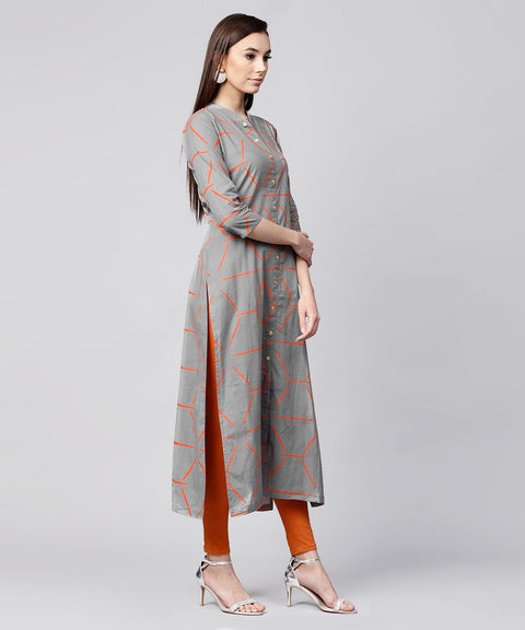 Grey printed 3/4th sleeve cotton front open kurta