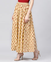 Yellow printed cotton ankle length flared skirt