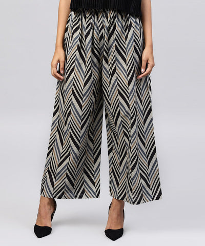 Blue printed cotton ankle length straight palazzo