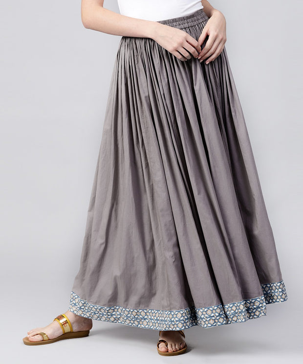 Grey cotton ankle length flared skirt