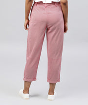 Peach cotton regular fit trouser with Belt