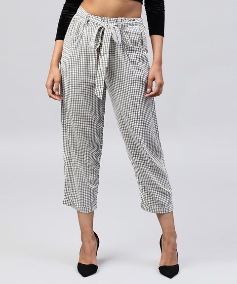 White & Black small checked cotton ankle length trouser