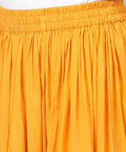 Yellow Ankle length cotton flared skirt
