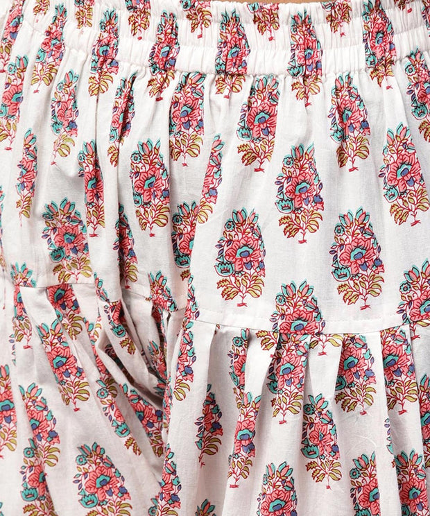 White printed Ankle length cotton Salwar