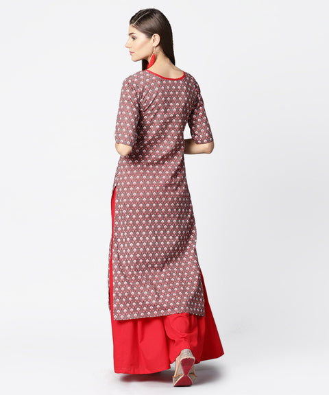 Brown printed half sleeve cotton kurta with maroon solid palazzo