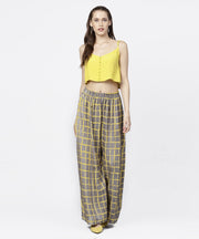 Grey & Yellow checked cotton ankle length pallazo