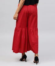 Red cotton ankle length sharara