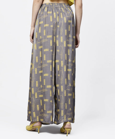 Grey printed ankle length cotton pallazo