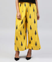 Yellow printed ankle length cotton straight pallazo