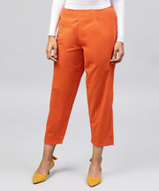 Solid Orange ankle length cotton regular fit trouser