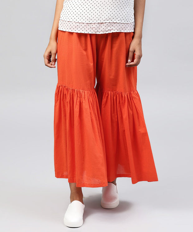 Solid Orange cotton ankle length sharara