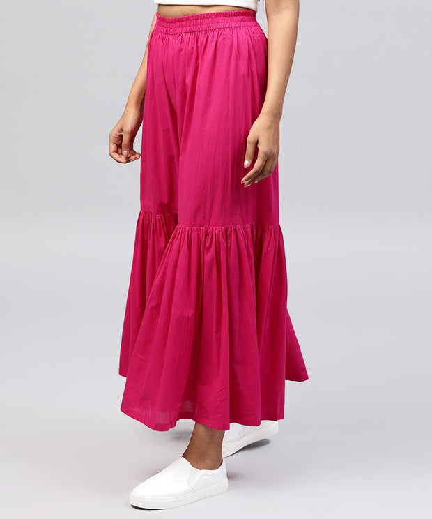 Solid Pink cotton ankle length sharara