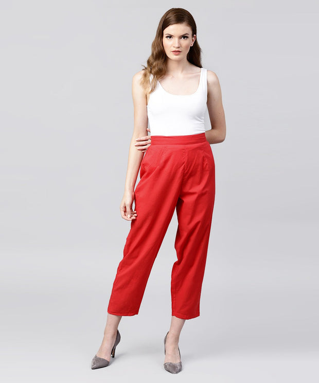 Solid red ankle length cotton regular fit trouser