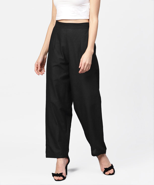 Solid Black ankle length cotton regular fit trouser