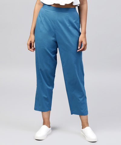 Solid blue ankle length cotton regular fit trouser