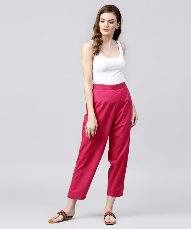 Solid Pink ankle length cotton regular fit trouser