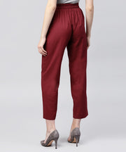 Solid maroon ankle length cotton regular fit trouser