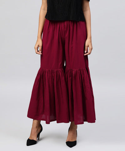 Solid Maroon cotton ankle length sharara