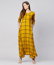 Yellow checked 3/4th sleeve cotton A-line kurta