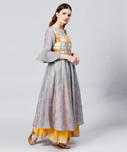 Grey banglori printed 3/4th sleeve cotton Anarkali kurta