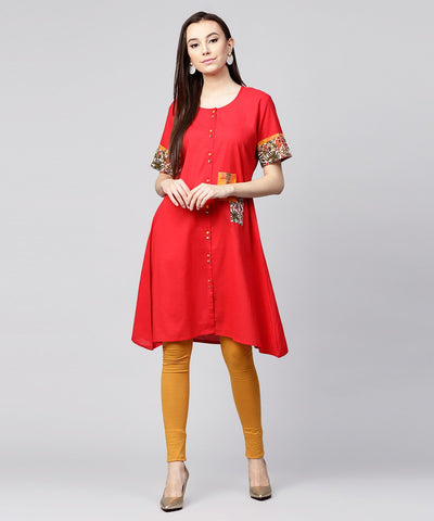 Maroon half slevee cotton front open kurta with pocket on left side