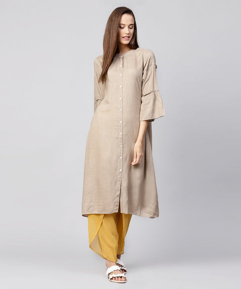 Solid Grey 3/4th sleeve cotton A-line kurta