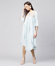 Blue 3/4th sleeve Rayon low high A-line kurta