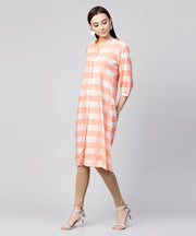 Peach checked 3/4th sleeve cotton front open A-line kurta