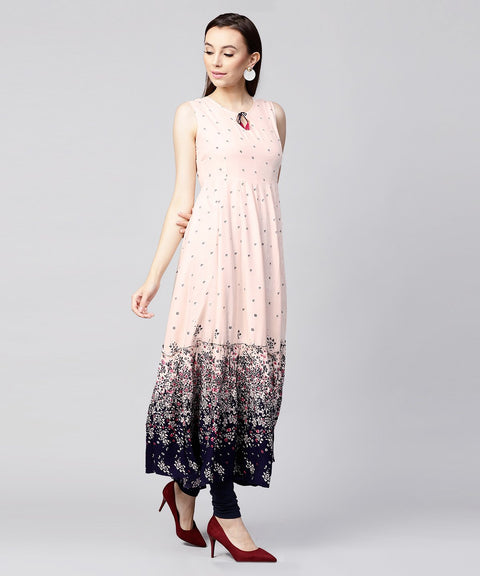 Off white printed sleeveless Rayon Anarkali kurta