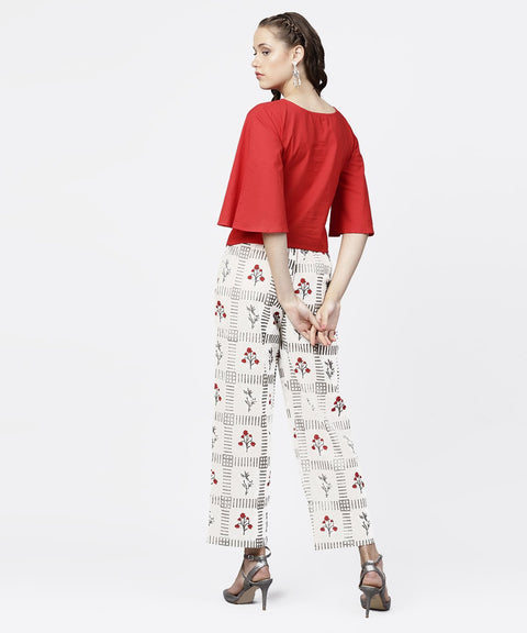 Red 3/4th sleeve tops with off white printed palazzo