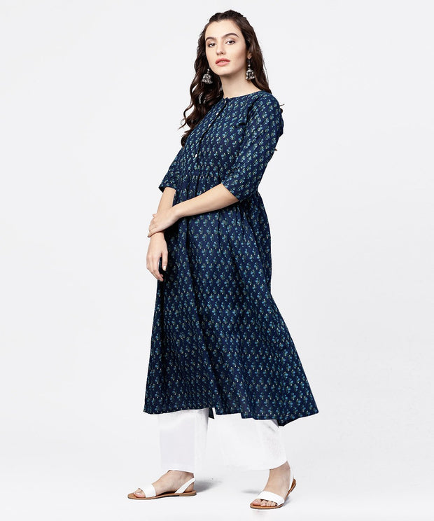 Blue printed gathered A-line kurta with white palazzo