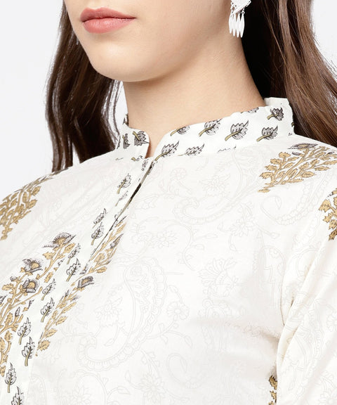 White printed 3/4th sleeve A-line kurta with grey solid dye palazzo