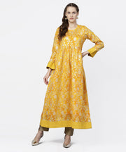 Yellow banglori printed round neck 3/4th sleeve A-line maxi dress