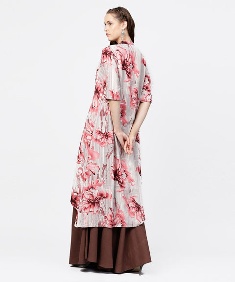 Grey printed key hole 3/4th sleeve front slit assymetrical kurta with solid brown skirt