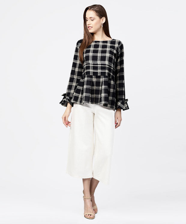 Black check peplum style tops with flared sleeve