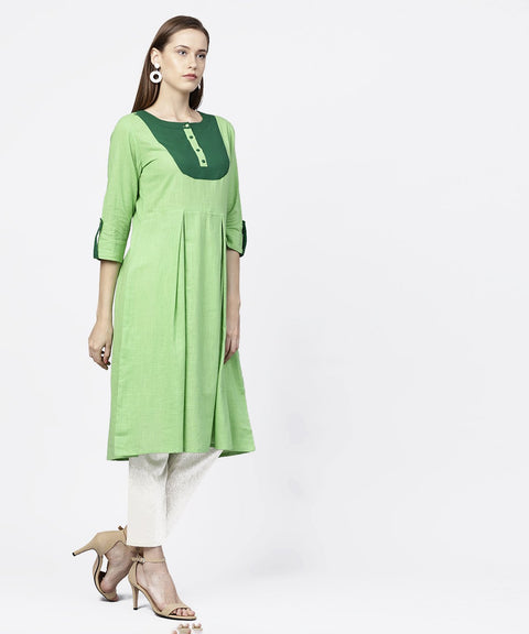 Solid green 3/4th sleeve flap style sleeve A-line kurta
