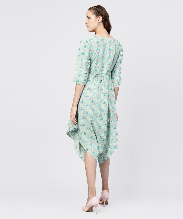 Printed boat neck 3/4th sleeve jumpsuit