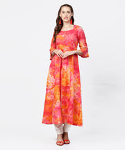Red printed 3/4th flared sleeve round neck anarkali kurta
