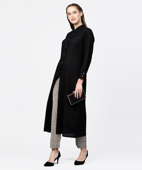 Black front open full sleeve kurta with grey printed palazzo