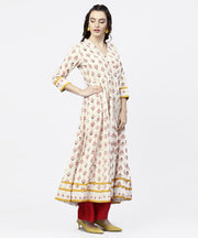 White prined 3/4th sleeve angrakha style Anarkali kurta