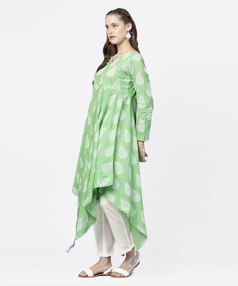 Green printed 3/4th Sleeve assymetrical kurta with white palazzo