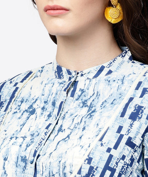 Blue printed 3/4th cold shoulder sleeve A-line kurta